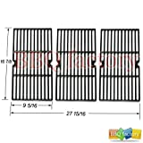 68763 Porcelain Cast Iron Cooking Grid Grate Replacement for Select Gas Grill Models by Charbroil, Kenmore and Others, Set of 3