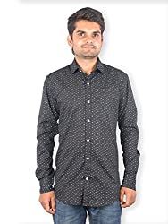 Maclavaro Men's Casual Printed Shirt_9roundprnt_Black_M