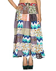 Vinatge Designs Casual Skirt Cotton White Floral Patchwork For Her By Rajrang