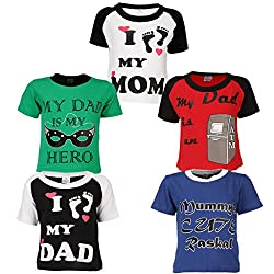Goodway Junior Boys Mom & Dad Theme Combo Pack of 5 T-Shirts - 2-3 Years