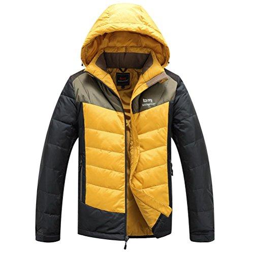 SU-Giubbotti Invernali Con Cappuccio Cerniera Cappotto Imbottito Da Uomo, Di Colore Giallo, Xxxl