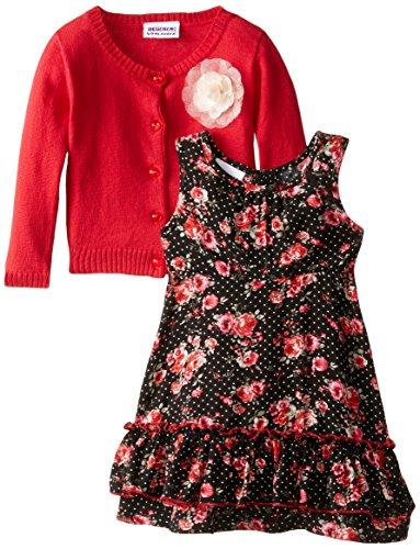 Blueberi Boulevard Baby Girls' Floral Tiered Cardigan Dress, Red Multi, 24 Months