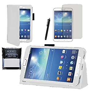 """MOFRED® White Samsung Galaxy Tab 3 8"""" Case-MOFRED® Retail Packed Executive Multi Function Standby Case For Samsung Galaxy Tab 3 8.0 -8 inch Tablet + Screen Protector + Stylus Pen (Available in Mutiple Colors)"""