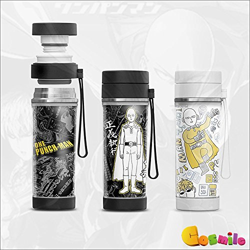 One Punch Man Saitama Anime Stainless Steel Insulated Water Bottle 330ml Christmas Gift b2 (Black)