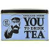New English Teas Memorabilia Range England Needs Tea Tin 80 g (Pack of 1, Total 40 Teabags)