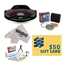Opteka Platinum Series 0.3X HD Ultra Fisheye Lens Kit for All Sony JVC Canon Panasonic & Samsung camcorders that accept 37MM 34MM 30.5MM 30MM & 25MM filters - Includes Bonus 3 Piece Filter Kit (UV CPL FLD) + Deluxe Lens Cleaning Kit + LCD Screen Protectors + Mini Tripod + 47stphoto Microfiber Cloth + $50 Photo Print Gift Card!