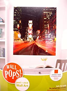WALL POPS! New York NY Times Square Photographic Panels, Peel and Stick Wall Art, 2 Design Panels