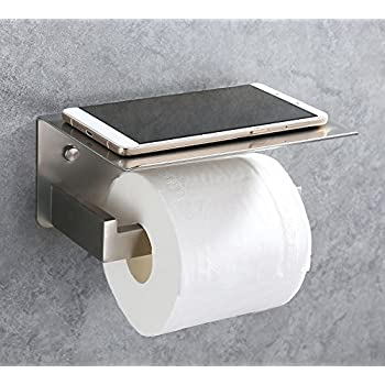 APL Toilet Paper Holder, SUS304 Stainless Steel Bathroom Paper Tissue Holder with Mobile Phone Storage Shelf Rack Brushed Nickel