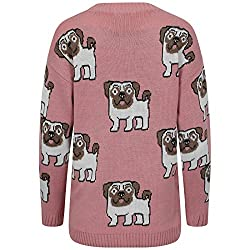 LCL- Ladies Women's Printed Pug Dog Pullover Top Jumper size 8 -16