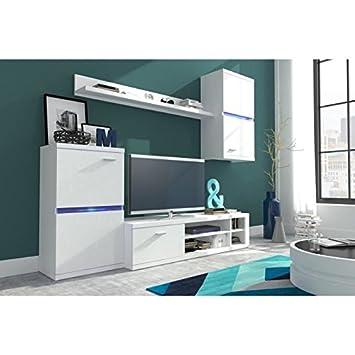 INTEL Meuble TV mural avec éclairage LED contemporain revetement mélaminé blanc mat - L 210 cm