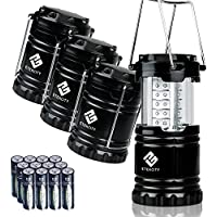 4-Pack Etekcity LED Ultra Bright Camping Collapsible Lantern (Black)