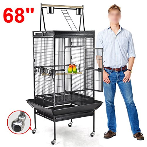 Yaheetech Pet Bird Cage Play Top Parrot Cockatiel Cockatoo Parakeet Finches (68