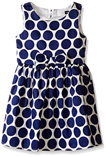 Zunie Little Girls Polka Dot Cotton Dress with Bow, Navy, 6