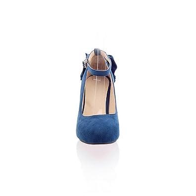 Amazon.com: VogueZone009 Womens Closed Round Toe Kitten Heels PU ...