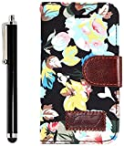 Apexel Calico Pattern Elegant Leather Wallet Case with Card Slot Holder for Samsung Galaxy Ace 4 G313 - Black
