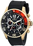 Invicta Men's Quartz Watch with Black Dial Chronograph Display and Black PU Strap 13729