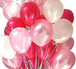Catterpillar Metallic HD Balloons (Pack of 50) (White Pink Red)