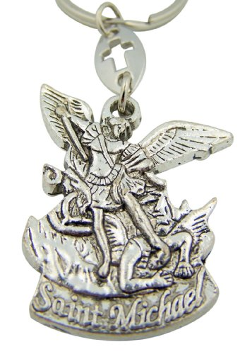 Saint St Michael The Archangel Pray For Us Medal Travel Protection Key Chain