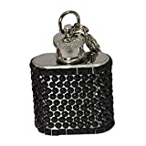 Bling 1-Ounce Hip Flask with Rhinestones, Mini, Black