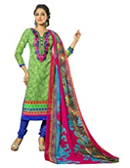 Surat Tex Green Color Embroidered Chanderi Cotton Un-Stitched Dress Material
