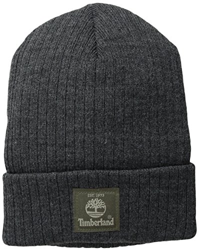 Timberland Men's Heathered Ribbed Watch Cap with Patch Logo, Charcoal, One Size