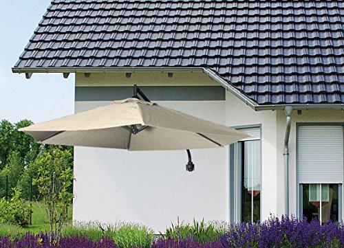 Wandampelschirm Balkonschirm Terrassenschirm Sonnenschirm schwenkbar mit Kurbel natur