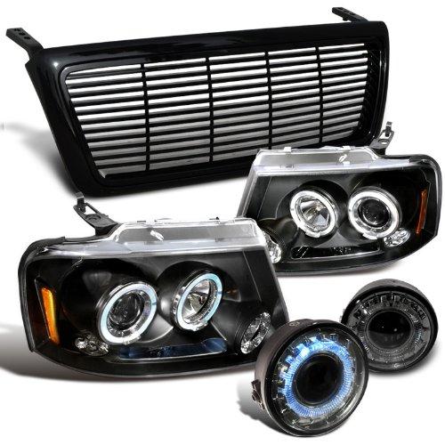 Ford F150 Black Halo Led Proj Headlights, Proj Halo Fog Lights, Black Grill