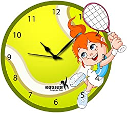 Hoopoe Decor Girl Playing Tennis Trendy Kids Wall Clock