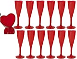Valentines Heart Shaped Red Champagne Flutes Wine Glasses Set Of 12