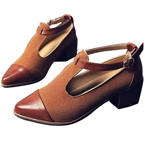 Susanny Women's Vintage Cute T-strap Low Heel Pointed Toe Oxfords Pump Shoes with Buckle 1
