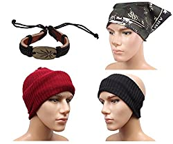Sushito Classic Maroon Wollen Mokkey Cap With Head Band With Stylish Headwrap & Wrist Band