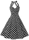 Dressystar Robe de bal Vintage 1950S pin-up à 'Audrey Hepburn' Classique Style Halter,dos nu, Noir à pois blanc XXXL...