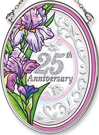 Amia Hand Painted Glass Suncatcher with 25th Anniversary Design, 3-1/4-Inch by 4-1/4-Inch Oval