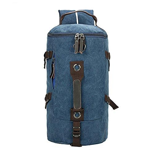 Minetom Cilindrico Verticale Tela Borsa A Zainetto Uomo Spalla Zaini Scuola Superiore Zainetti Bag Zaino Blu One Size(28*20*43 Cm)
