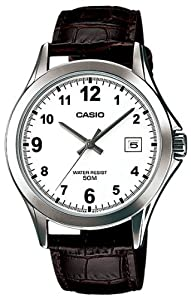 Casio MTP1380L-7BV Men's Standard Leather Band 50M Easy Reader White Dial Watch