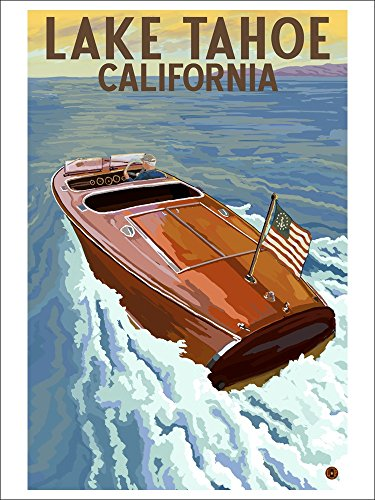 Lake Tahoe, California - Wooden Boat (Playing Card Deck - 52 Card Poker Size with Jokers)