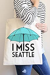 I Miss Seattle Blue Tote Bag in Natural Color
