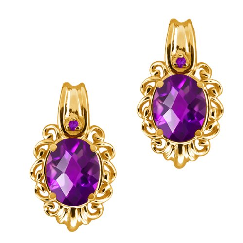 2.02 Ct Checkerboard Purple Amethyst Gold Plated Sterling Silver Earrings