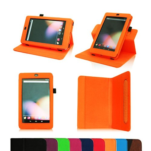 Fintie Dual-View Multi Angle (Orange) Leather Folio Case Cover for Google Nexus 7 Tablet (Auto Wake/Sleep Feature) -9 Color Options:Black,Green,Blue,Orange,Red,Navy, Pink,Purple,Dual