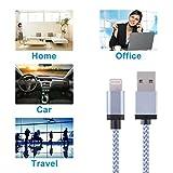 TOPLUS [2 Stück] 2m Nylon Lightning USB Kabel Ladekabel Datenkabel mit Aluminum Kopf für iPhone 6/6s/6 Plus/6s Plus/SE/5/5c/5s, iPad 4 Mini Air iPod Nano 7 iPod Touch 5 (Silberweiß) - 7