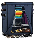 Portable Storage Organizer Wardrobe Closet & Shoe Rack Blue 13 Customizable Shelves with Sturdy Rust-Proof Stainless Steel Frame- 9 Side Pockets for Garment shoes Accessories Moisture Proof Fabric- Assemble Easy 69