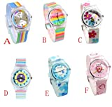 6 色 Willis 環境に優しい シリコン 腕時計  レインボー/花/愛の心/ライン 防水 機能性 学生 子供 ボーイズ Kids Rainbow Flower Heart Watches (E) ランキングお取り寄せ
