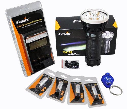 Premium Rechargeable Bundle: Fenix Tk75 Xm-L2 U2 2900 Lumens With Fenix 4 Channel Smart Charger, 4X 2300Mah 18650 & Lumentac Keychain Light