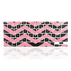 """TopCase Chevron Zig - Zag Silicone Keyboard Cover Skin for Macbook 13"""" Unibody / Macbook Pro 13"""" 15"""" 17"""" with or Without Retina Display / New Macbook Air 13"""" / Wireless Keyboard + TopCase Mouse Pad (Black n Rose Pink)"""