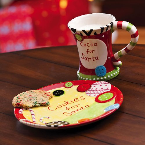 Add a touch of holiday cheer to your home with these cute Santau0027s cookies plate and mug sets & Home