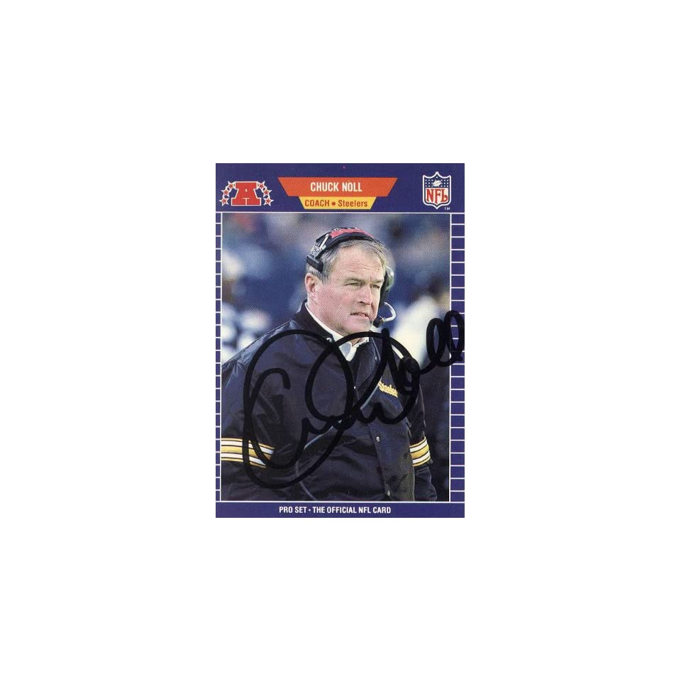 Chuck Noll Autographed 1989 NFL Pro Set Card #355   Pittsburgh Steelers