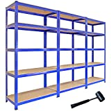 3 x 90cm Blue Shed Utility Greenhouse Storage Racks Garage Shelving Bays 1400kg Capacity Free Mallet