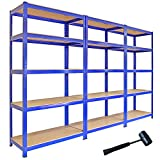 3 x 90cm Blue Shed / Utility / Greenhouse Storage Racks Bays / Garage Shelving