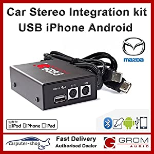 Grom Audio (USB3) USB Android iPhone car stereo integration kit for Mazda - supports Apple Lightning connector. Mazda 3 5 6 MX5 MPV RX-8 CX-7 BT from Grom Audio