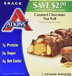 Atkins Caramel Chocolate Nut Roll 5-1.6 oz Bars